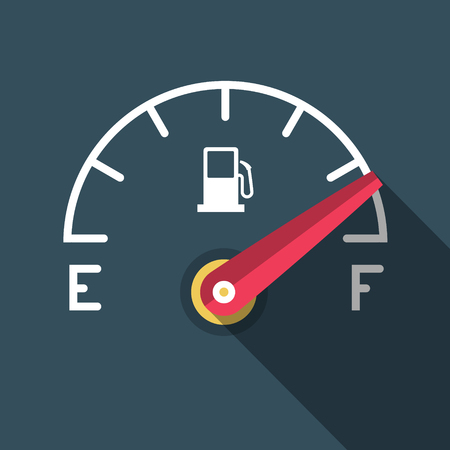 Full Fuel Icon. Vector Flat Design Gasoline Dashboard Symbol. Illustration