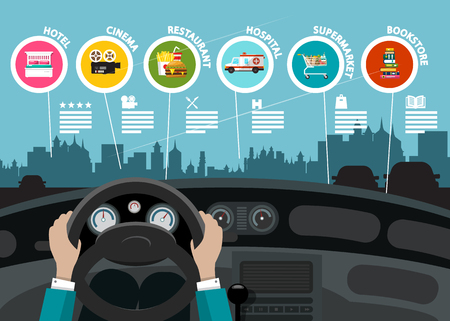 Hands on Car Steering Wheel - City Map with Destination Points