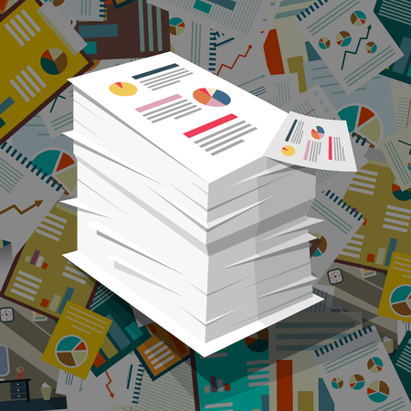 Pile of Paper with Graphs on Paperwork Background. Vector Business Concept with Taxes Documents.