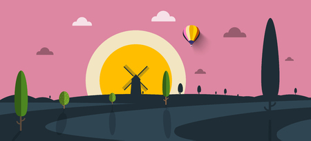 Sunset Landscape with Windmill and Trees Silhouetes Vector Flat Design Nature Scene