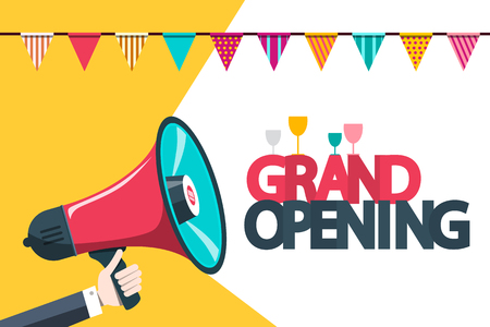 Grand Opening Announcement Card with Megaphone and Party Flags Reklamní fotografie - 126039426