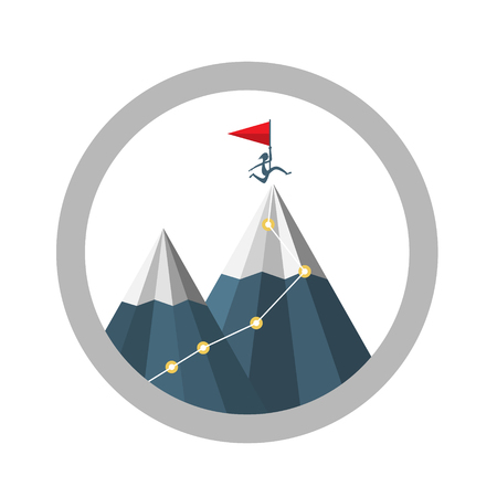 Mountain Top Achievement Vector Symbol with Jumping Man Silhouette with Flag. Business Success Concept.