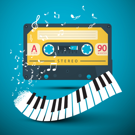 Audio Cassette with Piano Keyboard and Notes on Blue Background. Vector Music Design for Covers and Posters. Reklamní fotografie - 126039431