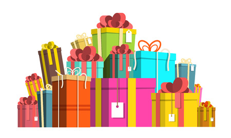 Gift Box Pile. Colorful Paper Vector Present Boxes Heap Isolated on White Background. Reklamní fotografie - 126039432