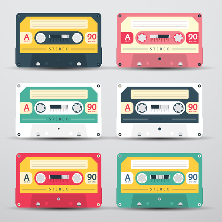 Retro Audio Cassettes Set - Vector Cassete Icons Isolated on Light Background Reklamní fotografie - 126039433