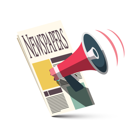 Megaphone with Newspapers. Advertising and Announcement Symbol. Vector News Icon Isolated on White Background. Reklamní fotografie - 126039434