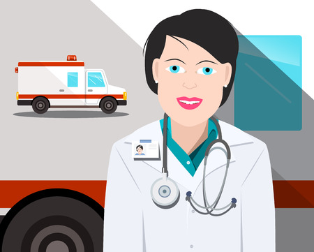 Woman Doctor with Ambulance Car on Background Vector Flat Design Illustration