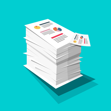 Stack of Paper. Business Documents with Graphs and Text Pile. Vector Flat Design Documents Illustration on Blue Background. Reklamní fotografie - 126039436