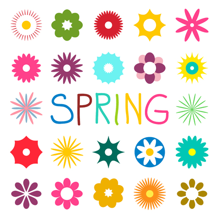 Colorful Spring Vector Flat Flowers Isolated on White Background Reklamní fotografie - 126039443