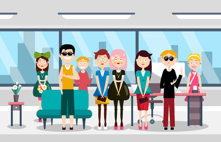 Busines Team in Office, Group of People Vector Illustration