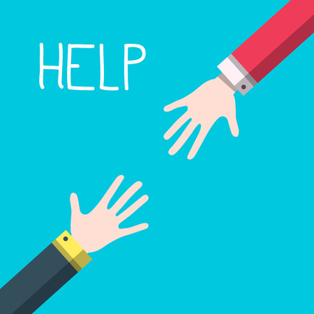 Hands with Help Title - Vector Helping Hands Concept Ilustrace