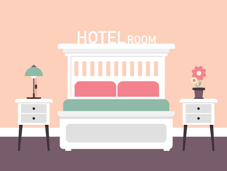Retro  Room Interior Design with Bed. Vector Flat Design Illustration. Standard-Bild - 117239779