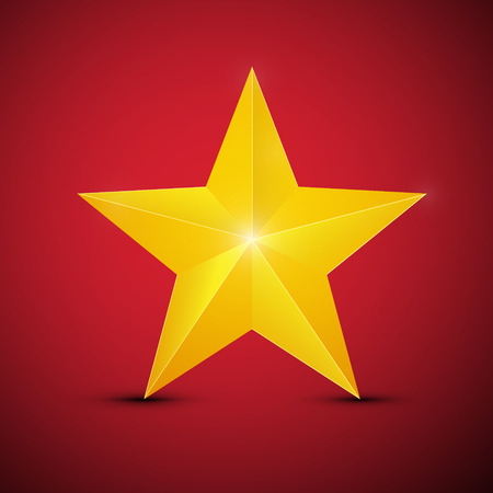 Gold Star on Red Background Vector Symbol Reklamní fotografie - 126039448