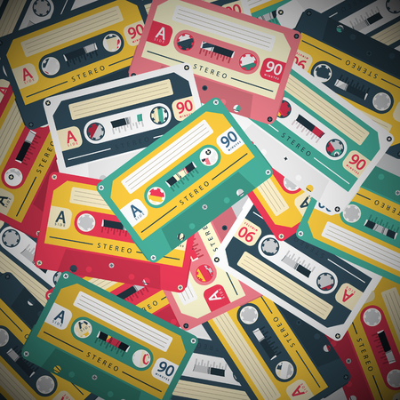 Audio Cassettes Retro Vector Music Background