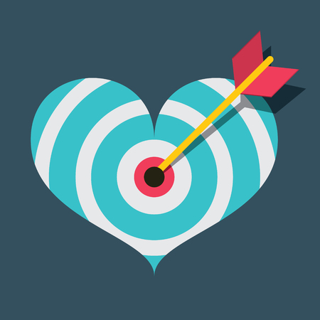 Vector Heart Target with Dart Flat Design Illustration Reklamní fotografie - 126039454
