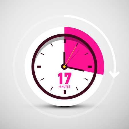 17 Seventeen Minutes Symbol on Vector Clock Icon