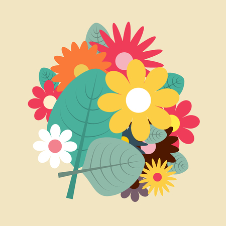 Spring Flowers Vector Flat Design Illustration