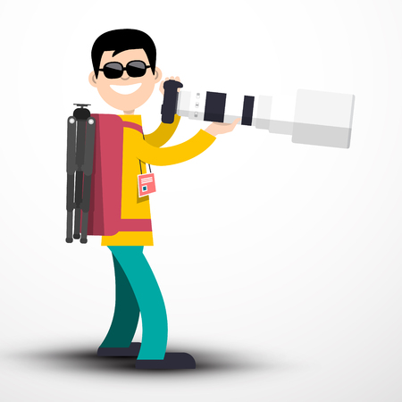 Photographer with Camera and Big Telephoto Lens and Pack on Back Isolated on Light Background - Vector Illustration Reklamní fotografie - 126039460
