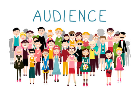 Audience Vector Illustration. Vector Groop of People Avatars on White Background. Men and Women in Crowd. Ilustrace