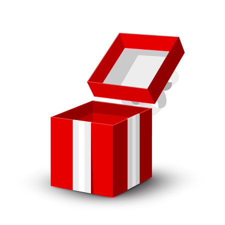 Open Gift Box. Vector Red Paper Present Box with Silver Ribbon Isolated on White Background.
