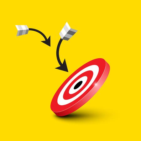 Dart Target - Bullseye with Darts - Arrows on Yellow Background