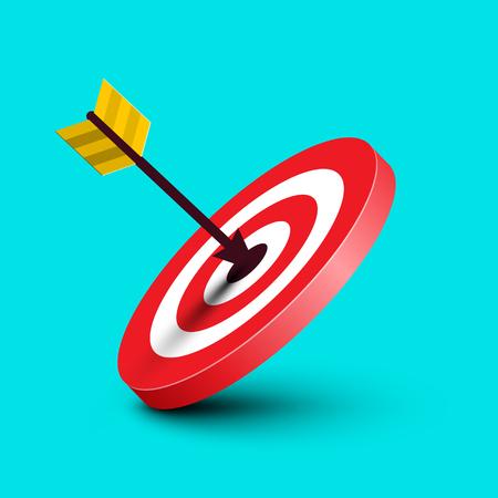 Arrow in Target. Vector Dart in Red Bullseye Illustration on Blue Background.Dartboard Symbol. Marketing Success Icon. Ilustrace