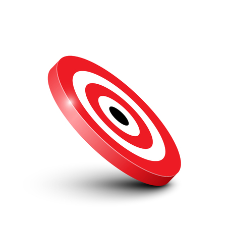 3D Red and White Bullseye Target Icon Isolated on White Background Vector Illustration Reklamní fotografie - 126039468
