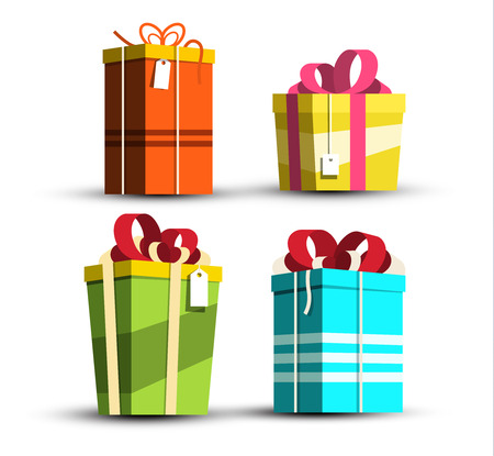 Paper Gift Boxes Set. Vector Present Box Icons Isolated on White Background. Ilustrace
