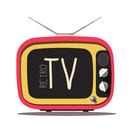 Retro TV. Vector Vintage Television Isolated on White Background. Ilustrace