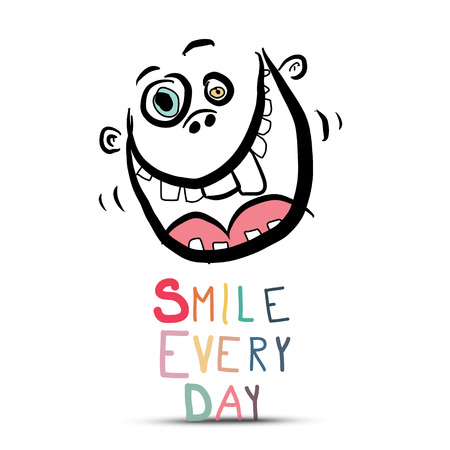 Smile Every Day Slogan with Crazy Face Isolated on White Background - Vector Ilustrace