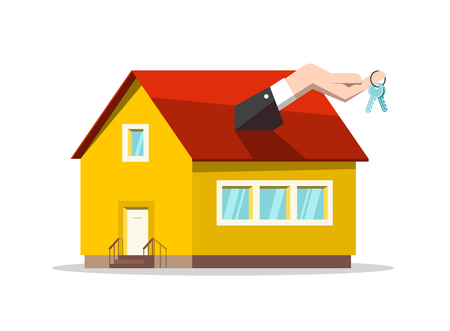 Buing or Selling House Concept. Vector Real Estate Reality Design with Keys in Hand and Family House Symbol. Reklamní fotografie - 126039474