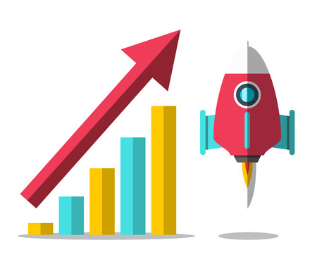 Rocket Launch with Arrow and Success Graph. Vector Progress Design. Ilustrace
