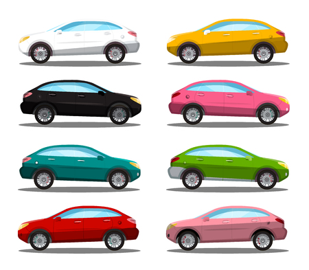 Car Icon. Colorful Vector Cars Symbols Set Isolated on White Background. Automobile.