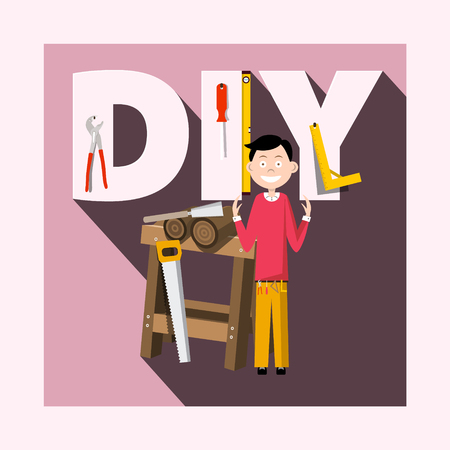 DIY - Do it Yourself Concept with Worker and Tools Vector Flat Design Illustration