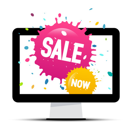 Sale Labels with Colorful Splashes on Computer Screen Isolated on White Background Ilustração