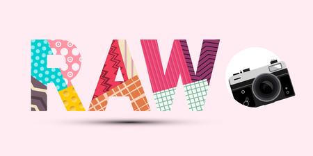 Titolo RAW realizzato con carta tagliata a carta con retro fotocamera digitale Vector Design moderno su sfondo rosa