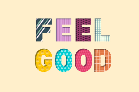 Feel Good Paper Cut Letters. Feeling Well Concept. Vector Illustration.