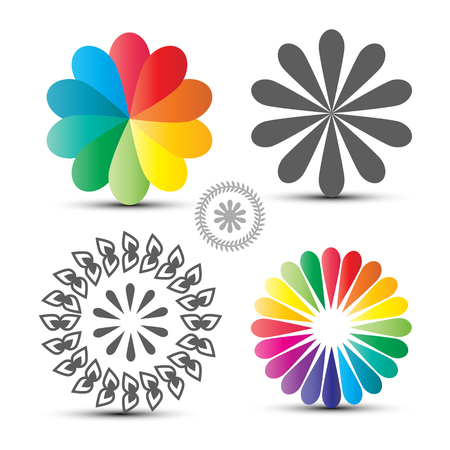 Vector Flover Icons Set. Colorful Circle Shapes Isolated on White Background. Illustration