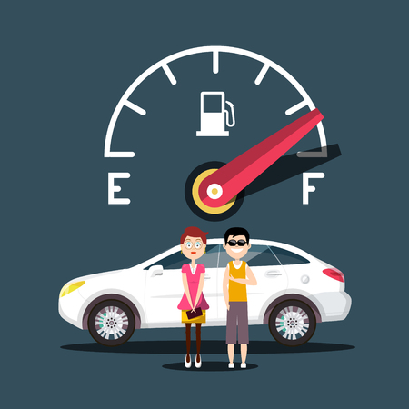 Fuel Icon with Car and People Vector Design Иллюстрация