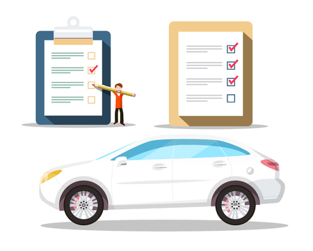Car Symbol with Checklist Icons. Buying Cars Vector Concept. Illustration