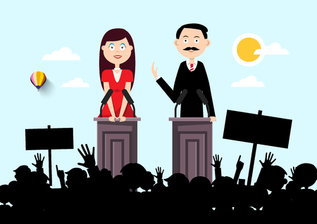 Political Outdoor Meeting with Man and Woman Speakers and Audience Silhouette Ilustrace