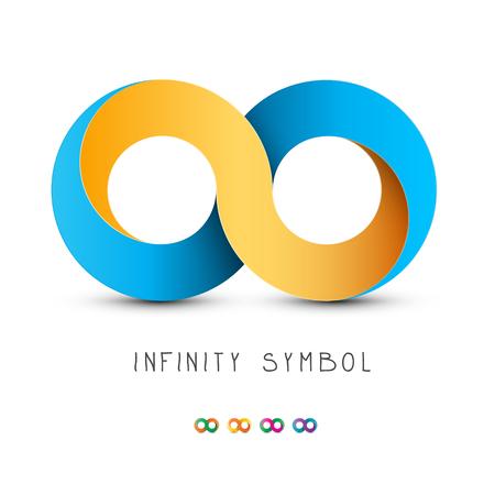 Unendlichkeitssymbol. Gold und blaues endloses Vektorsymbol