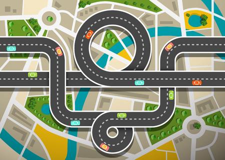 Vista aérea del mapa de carreteras con automóviles en las calles de la ciudad y la autopista