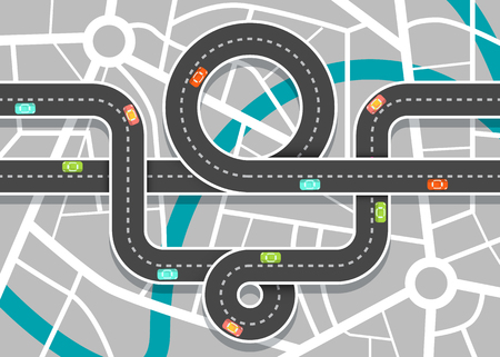 City Road Map with Streets. Vector Highway on Town Aerial View. Ilustrace
