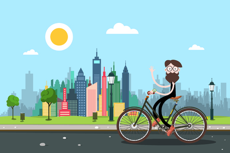 Man on Bicycle with City Skyscrapers on Background. Healthy Lifestyle in Town Concpt. Funky Person Waving Hand on Bike on the Road. Vector Biking Illustration. Illustration