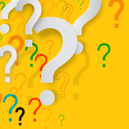 Mystery Concept with Paper Cut Question Marks on Yellow Background. Confusion Vector Design. Ilustração Vetorial
