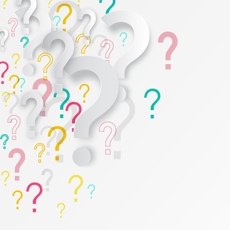 Question Mark Background. Vector Mystery Backdrop with Paper Cut Question Marks Symbols.