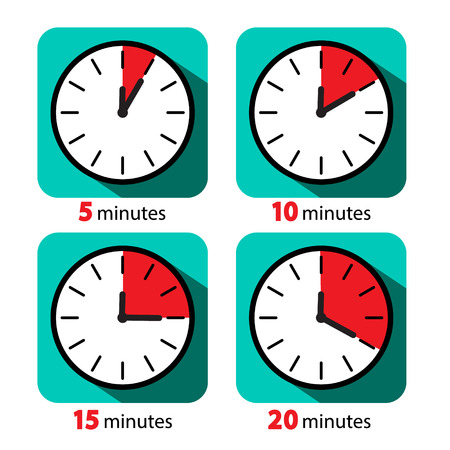 Clock Icon Stopwatch Set. Vector Five, Ten, Fifteen and Twenty Minutes Time Deadline Symbols.