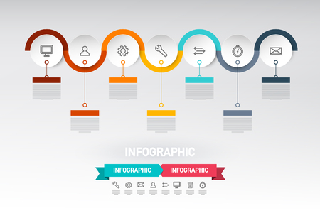 Infographic Web Design with Paper Cut Circles, Sample Text and Icons. Data Flow Infographics Vector Layout.