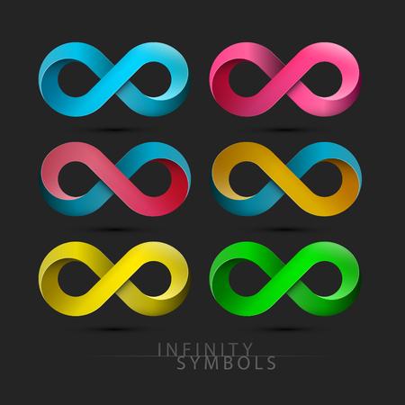Ensemble De Symboles De L'infini. Icônes sans fin de vecteur coloré sur fond sombre.